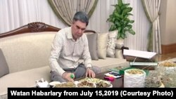 Президент Туркменистана Гурбангулы Бердымухамедов с лекарственными растениями, 15 июля 2019. Кадры из репортажа государственного телевидения Туркменистана.