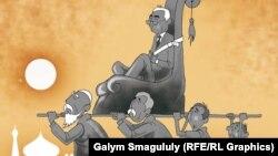 """""""Отец нации"""". Карикатура Галыма Смагулулы."""