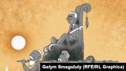Көрнекі иллюстрация. Ғалым Смағұлұлы салған карикатура.