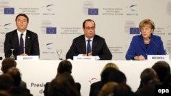 Премьер-министр Италии Маттео Ренци, президент Франции Франсуа Олланд и канцлер Германии Ангела Меркель (слева направо)