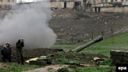 Լեռնային Ղարաբաղ - Պաշտպանության բանակի հրետանային ստորաբաժանումը Մարտակերտի մոտ, 3-ը ապրիլի, 2016թ․