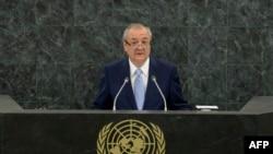 Министр иностранных дел Узбекистана Абдулазиз Камилов выступает в Нью-Йорке на саммите ООН по устойчивому развитию. 27 сентября 2015 года.