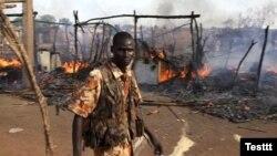Последствия бомбежки суданской авиацей южносуданского города Бантио