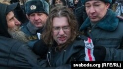 Maksim Vinyarski is detained while protesting in Moscow in December 2012.
