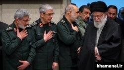 Iran's Supreme Leader Ali Khamenei and top IRGC commanders: Esmaeil Qaani, Mohammad Bagheri, and Hossein Salami. FILE PHOTO