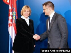 Vuk Jeremić i Vesna Pusić, Beograd, 31. januar 2012.