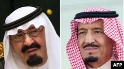 Покойный монарх Абдулла ибн Абдул-Азиз Аль Сауд (слева) и новый король Салман ибн Абдул-Азиз Аль Сауд (справа)