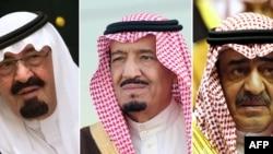 Слева направо: покойный король Абдулла бен Абдулазиз, его преемник король Салман бен Абдулазиз и новый кронпринц Мукрин бен Абдулазиз
