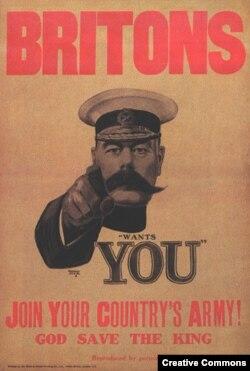 Британский плакат с призывом записываться добровольцами в армию. На нем изображен тогдашний военный министр лорд Китченер, погибший в 1916 году