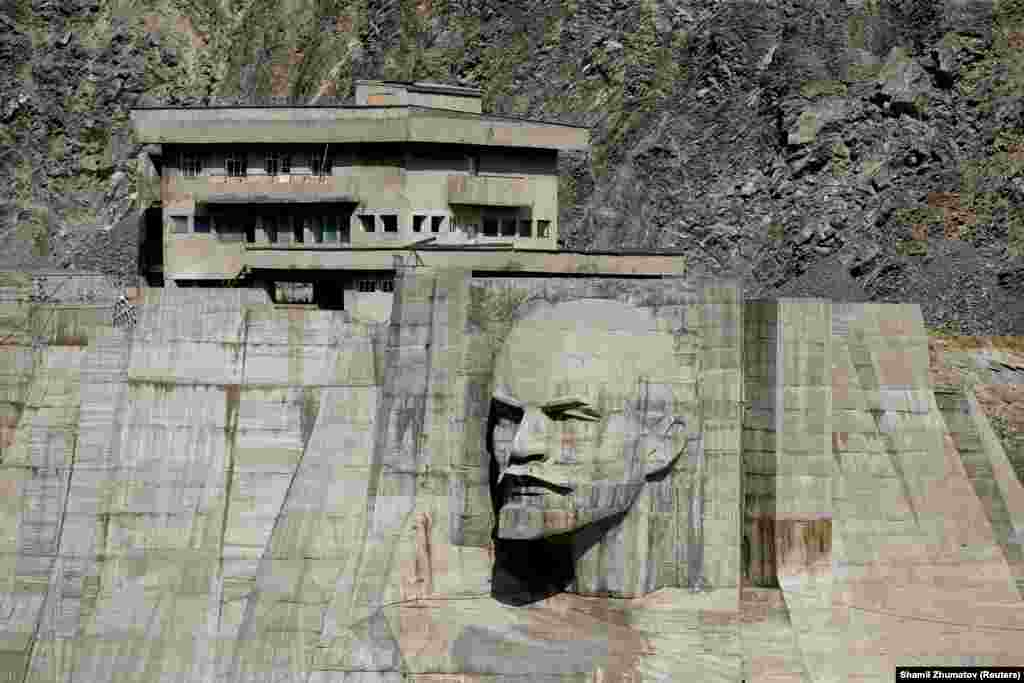 Talas, Kyrgyzstan: Lenin's glare locked in concrete on a dam on the Kirov Reservoir.