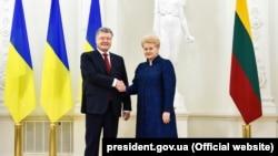 Президент Украины Петр Порошенко и президент Литвы Даля Грибаускайте