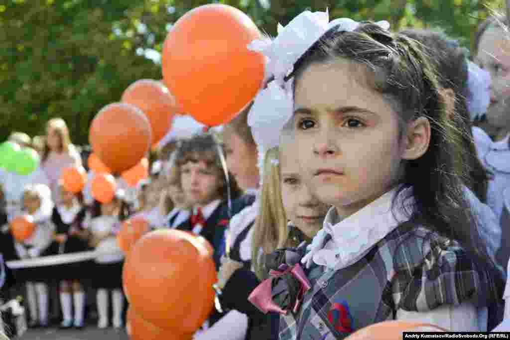 September 1 was the first day of school for 6-year-old Alisa Fedenko at School No. 42 in Lugansk, Ukraine.