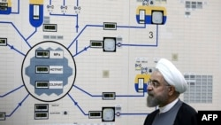Iranian President Hassan Rohani at the Bushehr nuclear power plant (file photo)