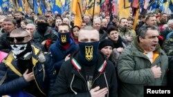 Мітинг учасників «Маршу національної гідності» під Верховною Радою, у Києві, 22 лютого 2017 року