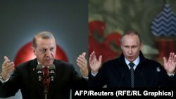 Turkish President Recep Tayyip Erdogan (left) and Russian President Vladimir Putin (combo photo)