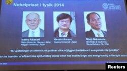 Лауреаты Нобелевской премии 2014 года в области физики.