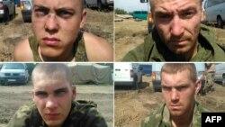 Фотоколлаж, выпущенный Службой безопасности Украины с заявлением о задержании российских солдат в зоне боевых действий в Донецкой области Украины.
