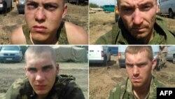 Коллаж фотографий, выпущенных Службой безопасности Украины с заявлением о задержании российских солдат в зоне боевых действий в Донецкой области Украины.