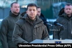 Ukrainian President Volodymyr Zelenskiy speaks during a meeting with soldiers while visiting the Donetsk region on December 6. His election campaign was filled with promises of peace.