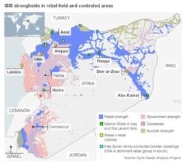 Сириядағы көтерілісшілер иеленген аймақтар. ISIS ықпал ететін маң жасыл түспен боялған (BBC сайты суретінен жасалған скриншот)