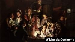 Джозэф Райт, «Экспэрымэнт з птушкай у паветраным насосе» (1768).