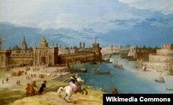 Луис де Коллери. Семирамида преследует льва у ворот Вавилона. 1876