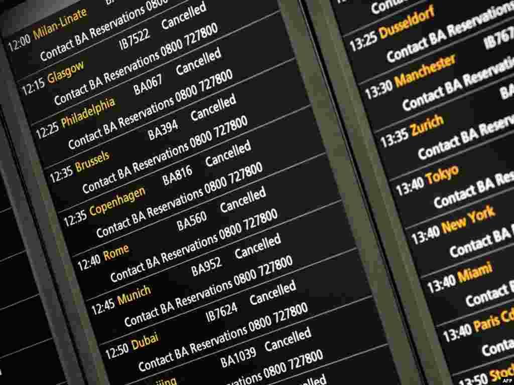 خاکستر ناشی از فوران آتشفشان در ایسلند، سبب لغو بعضی از پرواز در کشورهای اروپایی شد - انگلستان