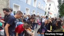 Сбор помощи беженцам в Вене