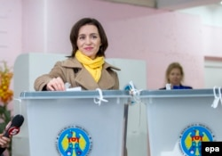 Maia Sandu casts her vote at a polling station in Chisinau on November 13.