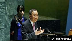 "U.S. -- UN Secretary-General Ban Ki-moon addresses the 31st Annual United Nations International School/United Nation (UNIS/UN) Conference on ""Global Warming"" at UN headquarters in New York, 01Mar2007"