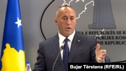 Kosovo - Former prime minister Ramush Haradinaj in a press conference