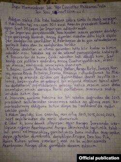 İlgar Mammadovun əlyazması