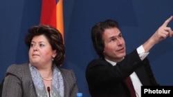 Armenia -- Deputy Foreign Minister Karine Kazinian (L) and Gunnar Wiegand, a visiting senior EU official, 15Dec2010.