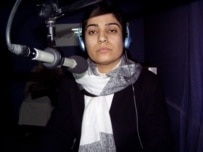Malalai Joya during a 2005 interview with RFE/RL's Radio Free Afghanistan (RFE/RL)