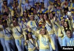 Члени української паралімпійської збірної під час урочистої церемонії відкриття Паралімпіади, Ріо-де-Жанейро, 7 вересня 2016 року