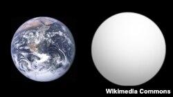 جیال ۱۱۳۲بی سیارهای فراخورشیدیست که امکان یافتن حیات بر آن، شوق تازهای را در جامعه علمی ایجاد کرده است (در تصویر در مقایسه با زمین)