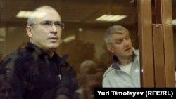 Михаил Ходорковский и Платон Лебедев в Хамовническом суде.