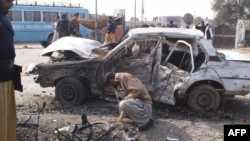 The site of the bomb blast in Dera Ismail Khan