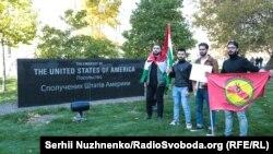 Пікет під посольством США у Києві проти військової операціїТуреччини в Сирії, 16 жовтня 2019 року