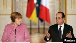 Francois Hollande və Angela Merkel