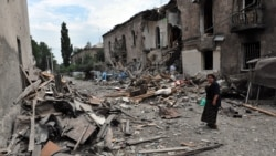 A building hit by Russian bombing in Gori, Georgia