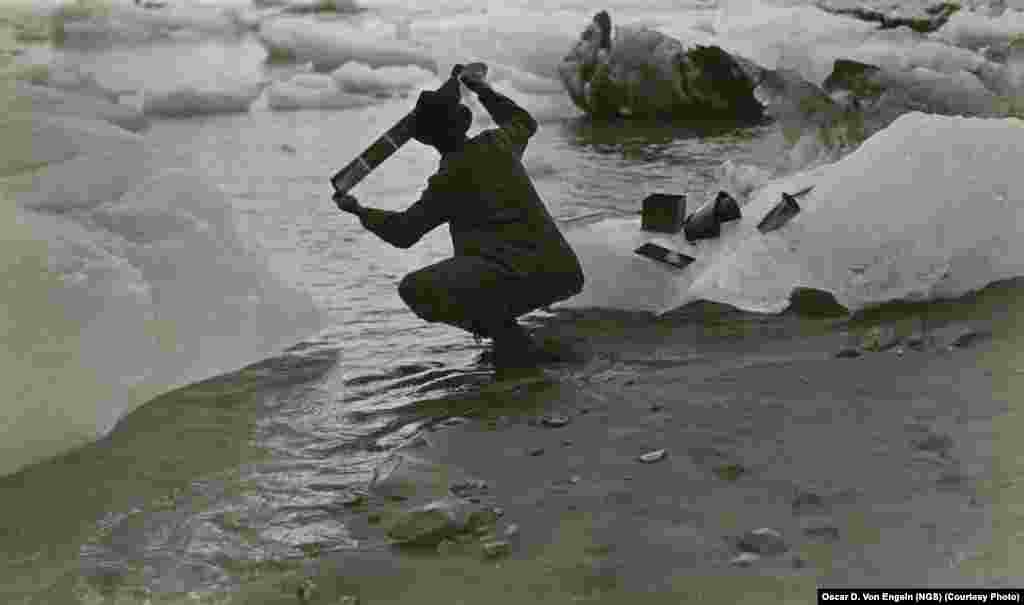 Washing his films in iceberg-choked seawater was an everyday chore for photographer Oscar D. Von Engeln during the summer months he spent on a society-sponsored expedition in Alaska in 1909.