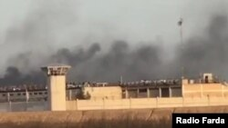 Smoke rising from Sheiban Prison in Ahvaz during prisoner protests. April1, 2020