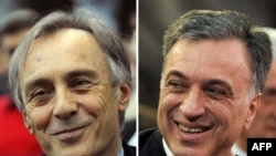 Kандидатот на опозицијата Миодраг Лекиќ и сегашниот шеф на државата Филип Вујановиќ
