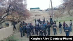 Local authorities say at least two people were hospitalized after an April 3 clash at the Kyrgyz-Tajik border.