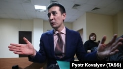 Russian yoga teacher Dmitry Ugay attends a court hearing in St. Petersburg on January 18.