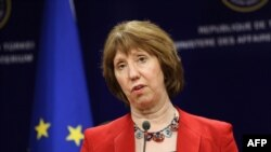 Catherine Ashton, the EU's foreign affairs chief speaks, addresses a press conference in Ankara, on April 3.