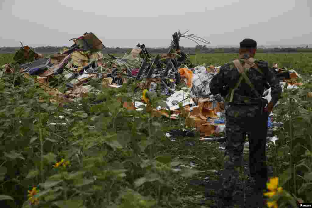 Another pro-Russian separatist looks at wreckage from the nose section of the airliner near the village of Rozsypne on July 18.