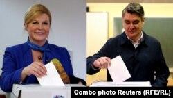 Kolinda Grabar Kitarović i Zoran Milanović prilikom glasanja na izborima 22. decembra