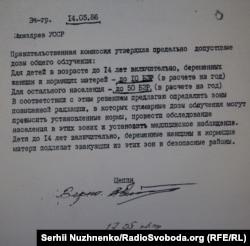 Документ Національного музею «Чорнобиль». Допустимі дози опромінення для населення